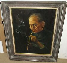 WAHSO CHAN ELDER CHINESE WOMAN SMOKING OPIUM ORIGINAL OIL ON CANVAS PAINTING