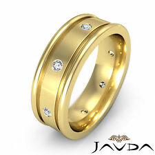 Mens Round Diamond Solid Ring 18k Yellow Gold Eternity Wedding Dome Band 0.15Ct