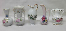 5 vintage Small Miniature Bone China & Porcelain Flower Bud VASE Pitcher URN lot