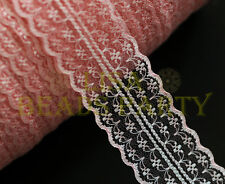 10yard 45mm Fabric Embroidered Lace Bilateral Trim Ribbon Craft Sewing Baby Pink