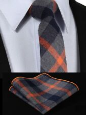 Mens Scottish Tartan Tie Wool Set - Skinny Slim - Grey Orange Blue - FREE Hanky