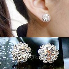 Women's Fashion Jewelry Shine Rhinestone Crystal Sun Flower Stud Earrings Silver