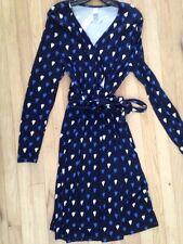 NWT Old Navy Blue Sailboat Print Surplice preppy Wrap Front Knit Dress/L