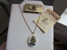 Vintage Hawaiian Scrimshaw Ship Money Clip & 14k Gold Fill Pendant Necklace