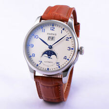 43mm Parnis Automatic Movement Sapphire Glass Men Watch White Dial Brown Strap