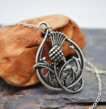 925 Antique Silver Plt Thistle Pendant Necklace, ladies Gift Scottish / Scotland