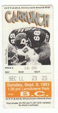 1991 Ottawa Rough Riders CFL photo ticket stub vs Doug Flutie & BC Lions