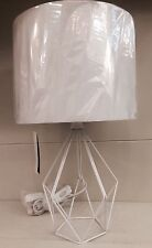Nordic Skandi Geo Geometric Cut Out White Hexagon Metal Base Table Lamp NEW