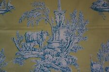 "Brunschwig & Fils Fabric MATIN D'ETE Toile B&F Archives 1 yard 14"" Green Blue Wh"