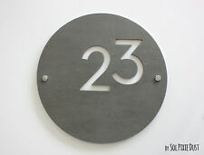 Modern House Numbers ,Round Concrete & White Acrylic - Sign Plaque - Door Number