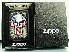 ZIPPO Genuine Zippo Lighter 218 FLAG SKULL Black Matte
