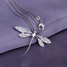 fashion chains necklace sterling solid silver dragonfly pendant necklace XUSP076
