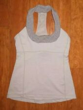 LULULEMON SCOOP NECK TANK TOP LIGHT GRAY WEE STRIPE YOGA WORKOUT GYM EUC size 6