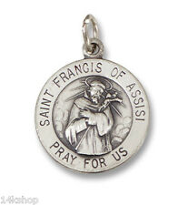 Small 925 Sterling Silver St St. Saint Francis of Assisi Charm Pendant Animals