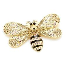"""Bumble Bee Brooch Women Crystal Flower Pin Bright 3 """" Gold Plated"""