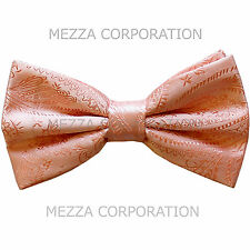 New formal men's pre tied Bow tie paisley pattern party wedding prom peach