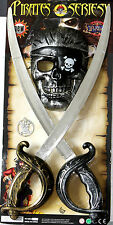 New 4pcs Plastic Pirate Twin SWORD & Mask SET Fancy Dress Play Boy Toy Gift