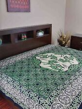 Handmade 100% Cotton Celtic Horse Tapestry Tablecloth Bedspread Full Beige Green