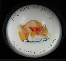 Cat paperweight Ginger Tabby Cat Sleeping  Decorative Dome Glass   Boxed