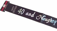 40th Happy Birthday Party BLACK SILVER Holographic 40 and Naughty Diamante Sash