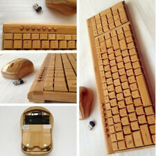 Handcrafted Natural Bamboo Wooden PC Wireless 2.4GHz Keyboard and Mouse Combo