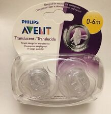 Philips AVENT Translucent Pacifiers 0-6m BPA Free Silicone 2 pk. w/ Case & Caps
