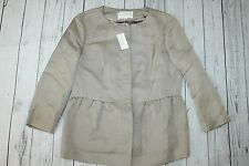 Women's NWT Banana Republic brown-beige linen-silk summer peplum jacket-14