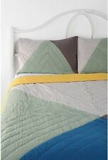 Urban Outfitters Assembly Home Colorblock 2 Quilted Shams Green Gray w topstitch