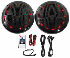 "Rockville RMC65LB 6.5"" 600w 2-Way Black Marine Speakers w/Multi Color LED+Remote"