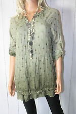 Xuna ITALY TUNICA BLUSA STELLE 38 40 42 oversize Crash Cachi Vintage Nuovo