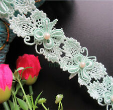 1 yard Butterfly Pearl Lace Trim Wedding Bridal Ribbon Applique DIY Sewing Craft
