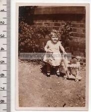 Young Girl with Push Along Horse Toy - Vintage Photograph - 81mm x 56mm