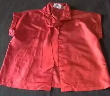 Women's SHAPELY Red Cap Sleeve Button Front Shirt with Neck Tie 100% Polyester