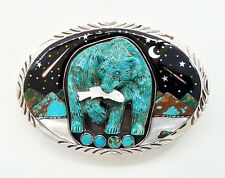HANDCRAFTED GENUINE CARVED BEAR TURQUOISE GALAXY INLAY .925 SILVER  BELT BUCKLE