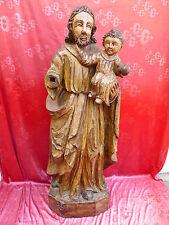 hermosa,muy antiguo, talla Figura de madera__santo__110cm__Tallado ypintado_
