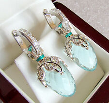 SALE ! SUPERB RUSSIAN AQUAMARINE  made of STERLING SILVER 925  EARRINGS w/ENAMEL