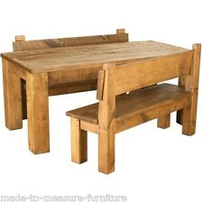 SOLID WOODEN DINING TABLE WITH BENCHES CHUNKY RUSTIC PLANK PINE any size made