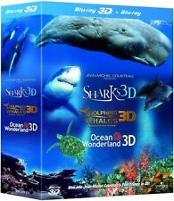 Jean-Michel IMAX Blu-Ray 3D Trilogy Sharks Dolphins Whales Ocean Wonderland NEW