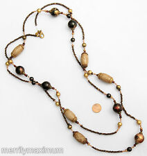 Chico's Signed Necklace Gold Tone Long Chunky Beads Black Red Neutral Brown