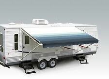 "18' Pacific Blue w/Wht W/G, RV Patio Awning Repl. fabric canopy (Fabric:17'2"")"