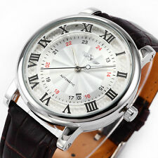 WINNER Elegant Mens Automatic Mechanical Date Brown Leather Analog Wrist Watch