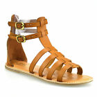 Ladies Womens Flat Heel Leather Ankle Strap Summer Gladiator Sandals Shoes Size