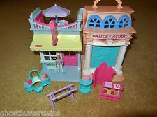 FISHER PRICE SWEET STREETS DANCE BALLERINA STUDIO CANDY STORE HOUSE BUILDING LOT