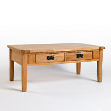 Rustic Light Oak Coffee Table with Drawers | Solid Light Oak Furniture CB08