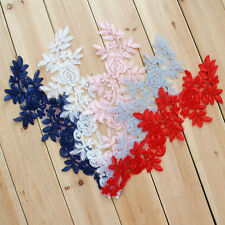 6 Colours Floral Trimming Bridal Lace Applique Embroidery Wedding Motif 1 Pair