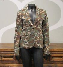 QMACK Army Green Camoflauge Print One Button Cotton Blazer Jacket - 4