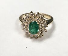 Dazzling 14k Yellow Gold Emerald & Diamond Cocktail Ring