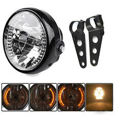 "Black Bracket Mount Universal 7"" Motorcycle Bike Headlight LED Turn Signal Light"