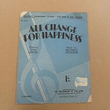 Songsheet todo cambio para la felicidad Nat Johns Jack Barker 1931