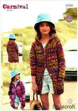 Stylecraft Girls Hooded Cardi Jackets Carnival Chunky Knitting Pattern 9189